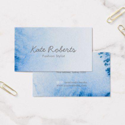 Blue Watercolor Business Card Minimalist Zazzle Com