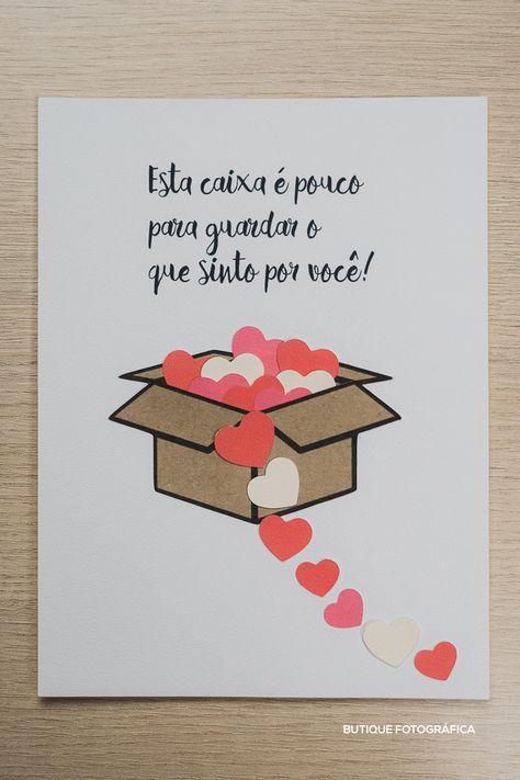 Cartão Scrap card com papel kraft e corações. Ideia original e criativa para seu amor.