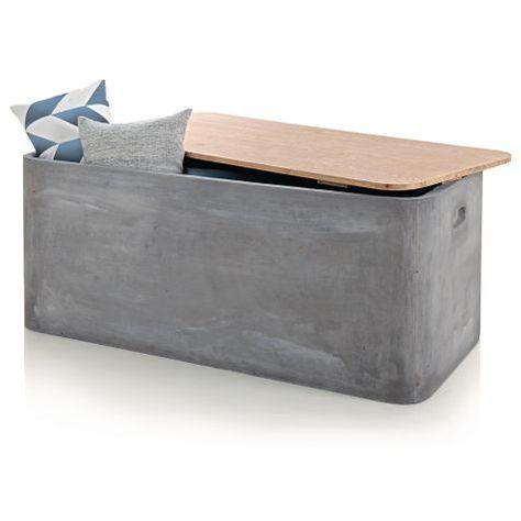 Kissenbox Beton Optik Fibreclay Holz Vorderansicht