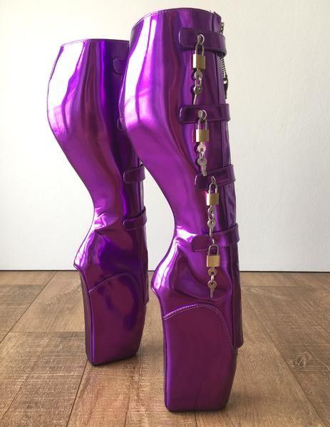 18cm 10 keys Lockable Beginner Ballet Wedge Boot Heelless Fetish Purple Metallic