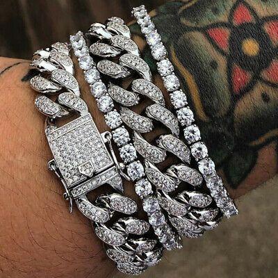 Luxury 14k Gold Hip Hop Tennis Iced Cuban Link Necklace Bracelet Lab Diamond Men Ebay Gold Diamond Necklace Cuban Link Necklace Gold Choker Necklace