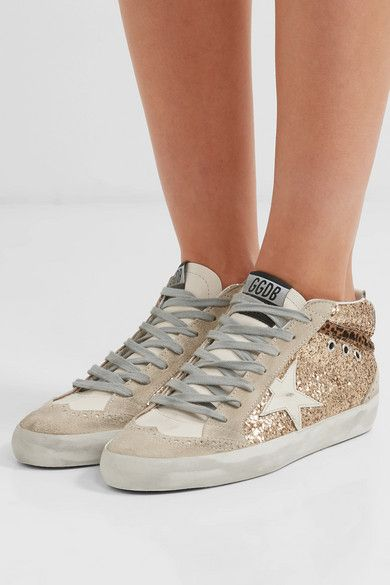 Gold Mid Star Glittered Distressed Leather And Suede Sneakers Golden Goose Golden Goose Outfit Golden Goose Deluxe Brand Suede Sneakers