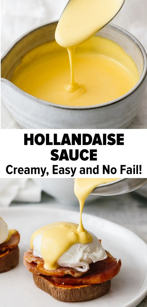 Best Hollandaise Sauce - So Easy!- Hollandaise sauce is a classic creamy sauce that's perfect for breakfast or brunch! This recipe is easy and no-fail. It takes just 5 minutes in a blender! Best Hollandaise Sauce – So Easy! Recipe For Hollandaise Sauce, Blender Hollandaise, Egg Sauce Recipe, Sauce For Eggs, Recipe Ratio, Think Food, Love Food, Breakfast Dishes, Breakfast