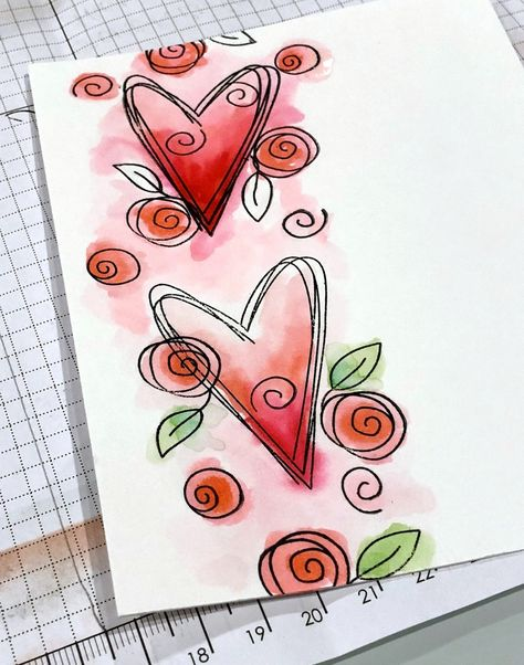 I'm calling today's technique free form watercoloring for lack of a better term. I see people who do gorgeous realistic watercoloring and I. Doodle Art For Beginners, Paper Art, Paper Crafts, Paint Cards, Watercolor And Ink, Watercolor Heart, Watercolor Portraits, Watercolor Painting, Diy Cards