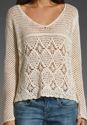 casual but beautiful crochet tunic/ pullover. Love this!