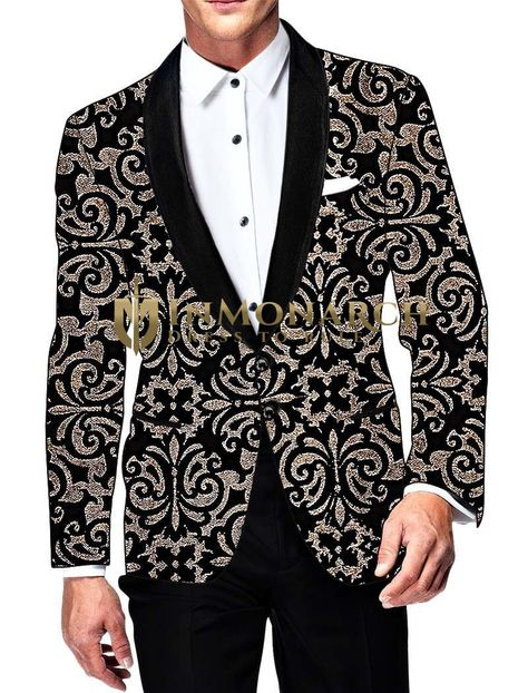 jacket Mens Black Velvet Blazer...