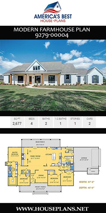 House Plan 9279 00004 Modern Farmhouse Plan 2 677 Square Feet 4 Bedrooms 2 5 Bathrooms House Plans Farmhouse Modern Farmhouse Plans Floor Plans Ranch