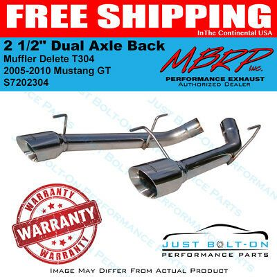 Mbrp 2005 2010 Mustang Gt 2 1 2 Dual Axle Back Muffler Delete T304 S7202304 Performance Exhaust Performance Parts 2010 Mustang Gt