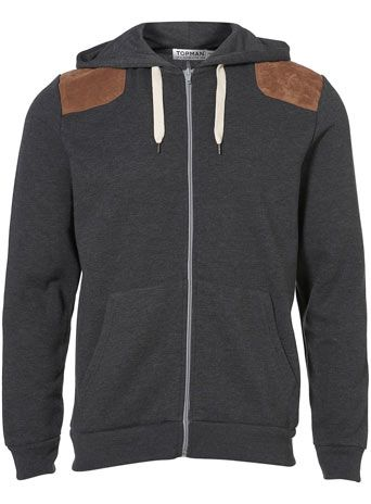 Topman - Charcoal Suede Patch Hoody   Clothes   Pinterest   Men's ...