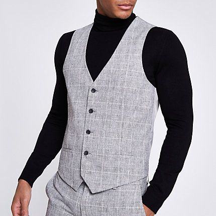 d605e73a Mens Light Grey textured check suit waistcoat in 2019 | Products ...