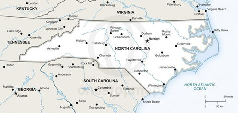 Map of North Carolina political | Maps of every state in the ...
