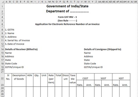 Image result for gst invoice format in excel download desktop - when invoice is generated