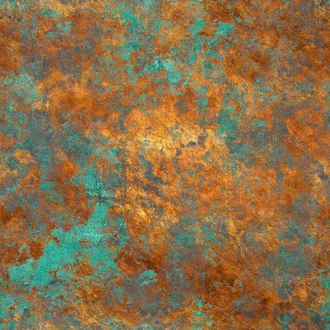 Wallpaper Designer Verdigris Green Brown Tan Faux