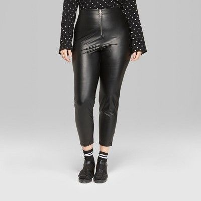 b0dd0bc01edc3 Women s Plus Size Faux Leather High-Rise Leggings with O-Ring Zipper - Wild  Fable Black 1X