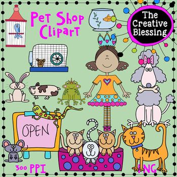 This Pet Store Clipart Set Turned Out So Cute There Are 14 Different Images In This Set They Come In Both Color And Black And White L Clip Art Pet Store Pets