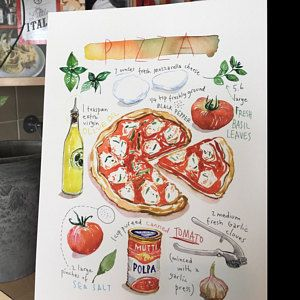 Custom Recipe Original Watercolor Painting Personalized Kitchen Art Custom Food Illustration Christmas Gift For Mom Foodie Wall Art Gift In 2021 Food Poster Etsy Wall Art Italy Wall Art