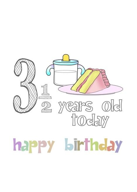 Three And A Half Years Old Milk And Slice Of Cake Birthday Card Ad Ad Slice Milk Years Card Birthday Cards Birthday Greetings Birthday