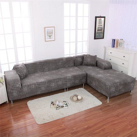 Premium Quality Sofa Covers For L Shape 2pcs Polyester Fabric Stretch Slipcovers 2pcs Pillow Covers Sectional Sofa Slip Covers Couch Leather Sectional Sofas