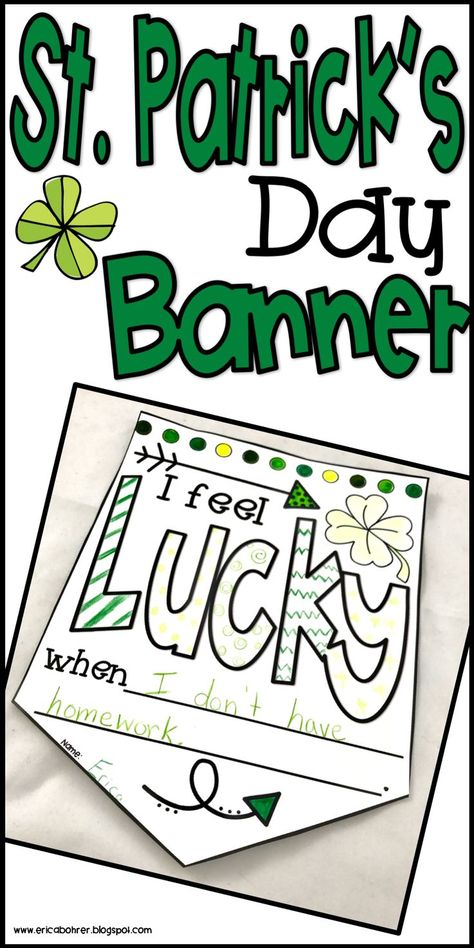 """Patrick's Day Banner Freebie St. Patrick's Day """"I fell lucky when…"""" banner freebie by Erica Bohrer St Patrick Day Activities, Spring Activities, Holiday Activities, Classroom Activities, Classroom Ideas, Holiday Classrooms, Preschool Bulletin, Elderly Activities, Dementia Activities"""