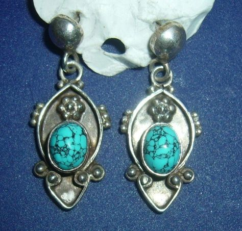 VINTAGE STERLING EARRINGS WITH TURQOISE STONE BEAUTIFUL!  $39.99