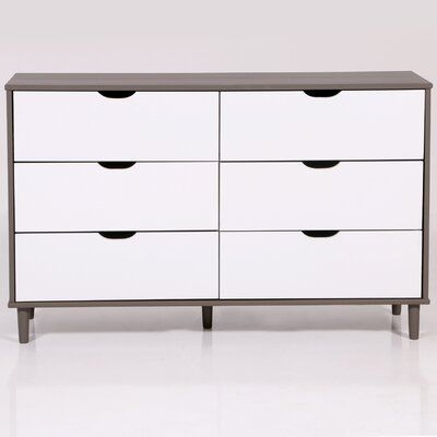 George Oliver Householder 6 Drawer Double Dresser Colour Grey White Double Dresser Drawers Dresser