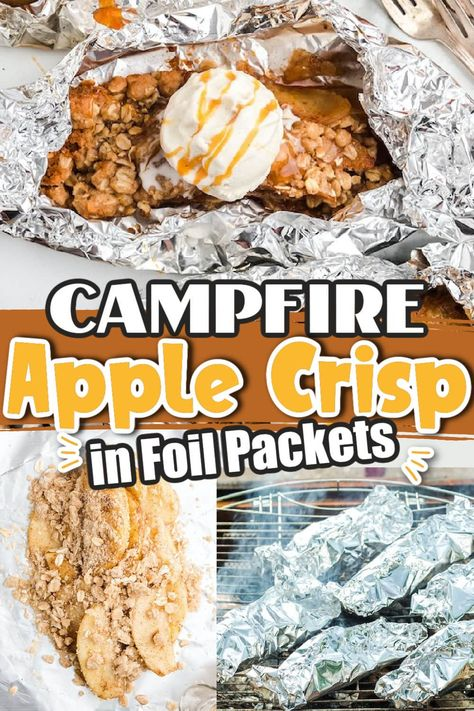 These delicious Campfire Apple Crisp made in foil packets are full of sweet juicy apples, warming spices, and an oatmeal topping that is perfect for making on the grill, over the campfire, or baked in the oven. It is so easy to make this no-fuss recipe because once you fold the pantry-staple pieces and parts into the packet, this decadent campfire dessert practically cooks itself--no cleanup required!