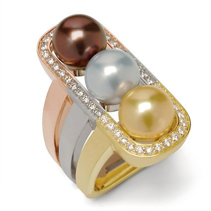 Escapade Collection - A trio of 9mm Chocolate, Silver Blue and Golden Pearls surrounded by .51ctw Round Brilliant Cut Diamonds set in 18K Rose, White and Yellow Gold.