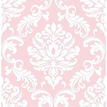 Pink Ariel Peel And Stick Wallpaper Pink Damask Wallpaper Damask Wallpaper Vinyl Wallpaper