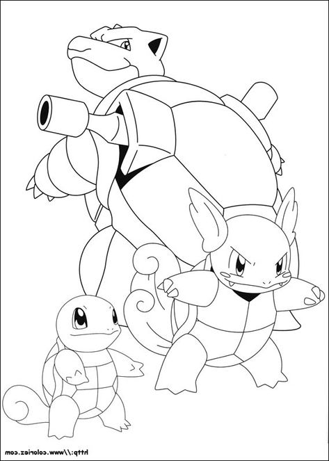 Carapuce Carabaffe Et Tortank Coloriagepokemon In 2020