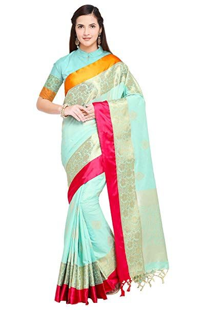 Free size Silk Sarees Women/'s Soft Katan Silk Woven design Kanjiwaram Saree