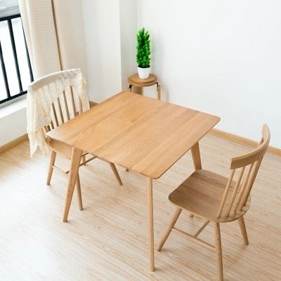 Solid Wood Dining Table Simple White Oak Square Table Wood Small