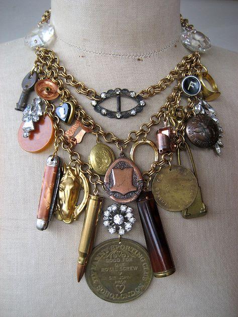 Vintage Necklace  Charm Necklace Steampunk Necklace by rebecca3030, $249.00