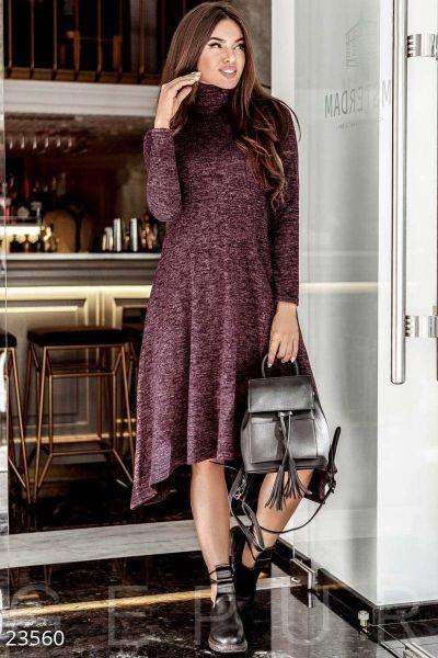 a4f4707aaeba Асимметричное теплое платье (марсала меланж) в интернет магазине Sosiska  #сукня #платьякиев #