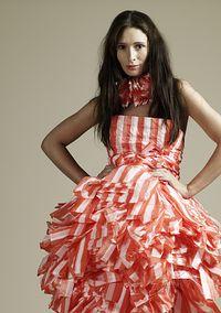 Stock Photo : Woman in Plastic Bag Dress