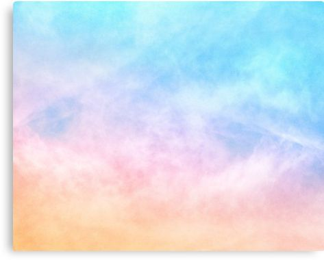 Pastel Rainbow Watercolor Clouds Artwork Metal Print In 2020