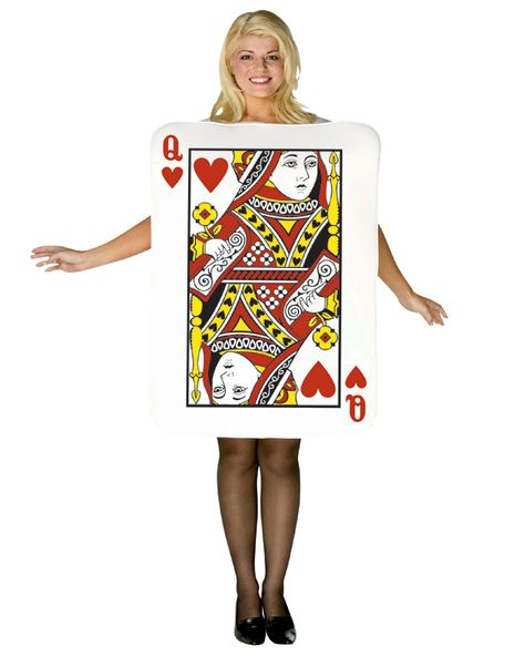 Queen of Hearts Playing Card Fancy Dress Costume Adult//One Size