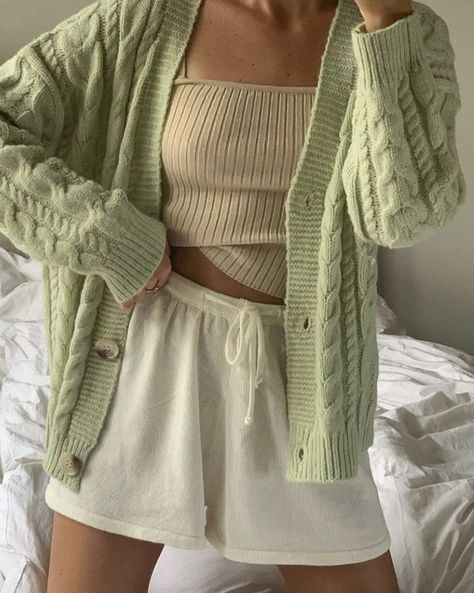 cute comfy loungewear outfit // green knitwear white shorts and ribbed tanned top Lounge Outfit, Lounge Wear, Cute Casual Outfits, Summer Outfits, Mode Outfits, Fashion Outfits, Girl Outfits, Fashion Clothes, Fashion Tips