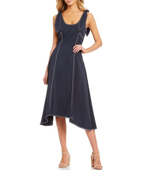3ba4e804210  Affiliatelink Shop for Gianni Bini Luna Contrast Stitch Bow Strap  Handkerchief Hem Midi Dress at