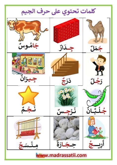 كلمات تحتوي على حرف الجيم موقع مدرستي Arabic Alphabet For Kids Arabic Kids Learning Arabic