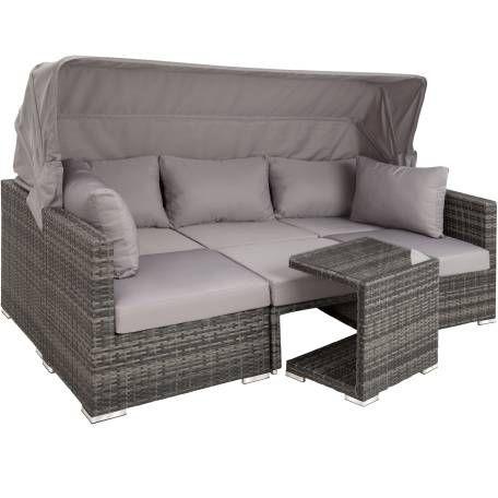 Rattan Lounge Mit Aluminiumgestell San Marino Grau Rattan