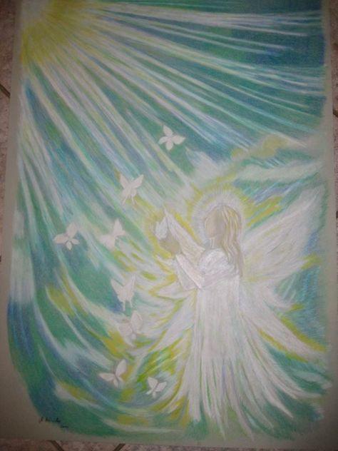 Ein Engelbild mit Buntstift gemalt.