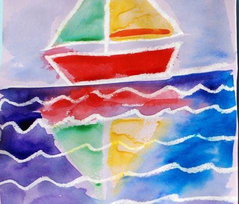 Okuloncesi Denizdeki Gemi Yansimasi Calismasi Sanat Sulu Boya