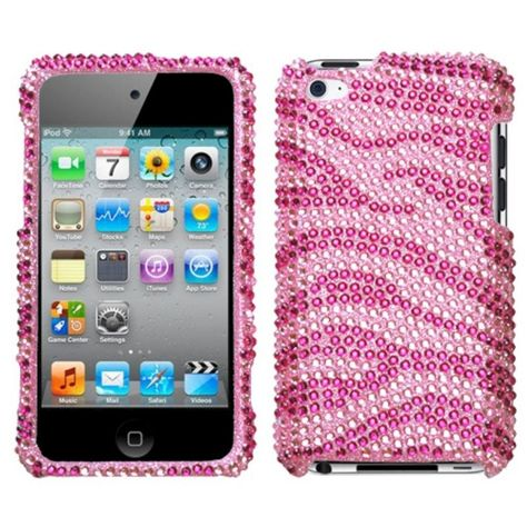 Hot Pink Diamond Crystal Bling Rhinestone Case Cover for iPod Touch 4th Gen
