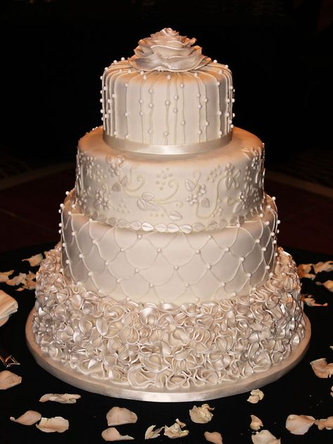 Ivory Pearl Wedding Cake ~ Rose Petal  Ruffles, pearls and hand piped ~ all edible