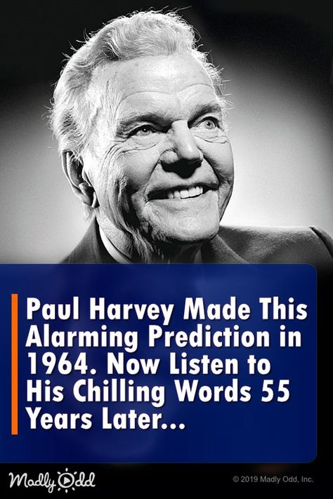 Paul Harvey Made This Disturbing Prediction in 1964. Now Listen to His Chilling Words 55 Years Later... #nostalgia #christian #church #jesus #christ #jesuschrist #prayer #God #bible #religion #radio #christianity #quotes #famousquotes