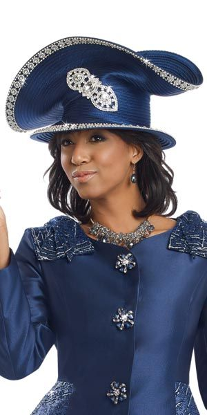 5f58fa3e201cb Donna Vinci hat 11534 SPring 2017 Navy Blue womens church hat