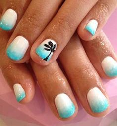 Serene looking nails with white and sky blue gradient color combination.
