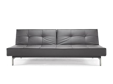 sleeper sofa no arms moooi innovation splitback black leather with stainless steel legs