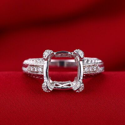 10k White Gold Real Diamond Wedding Retro Ladys Ring Semi Mount Cushion 12x12mm In 2020 Diamond Rings With Price Silver Engagement Rings Wedding Ring Sets Round