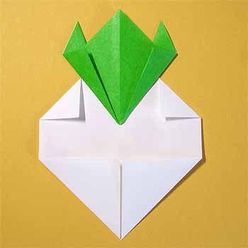 折り紙でカブの折り方 簡単平面冬の野菜の作り方 セツの折り紙処 折り紙 夏 折り紙 幼児のアート